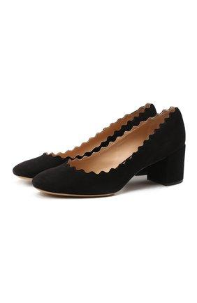 Женские замшевые туфли lauren CHLOÉ черного цвета, арт. CHC16S23001 | Фото 1