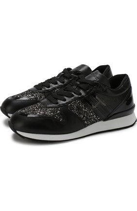 Кожаные кроссовки с глиттером на шнуровке Hogan черные | Фото №1