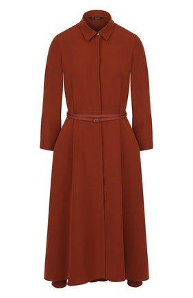 Однотонное шелковое платье-миди с поясом   Фото №1