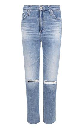 Укороченные джинсы с потертостями Ag синие   Фото №1