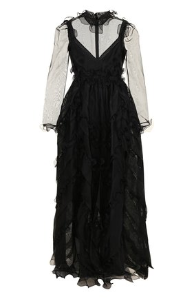 Шелковое платье-макси с оборками и воротником-стойкой | Фото №1