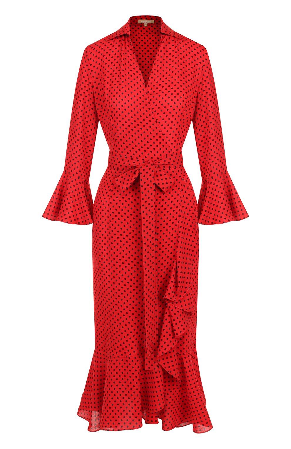Шелковое платье-миди с поясом и оборками | Фото №1