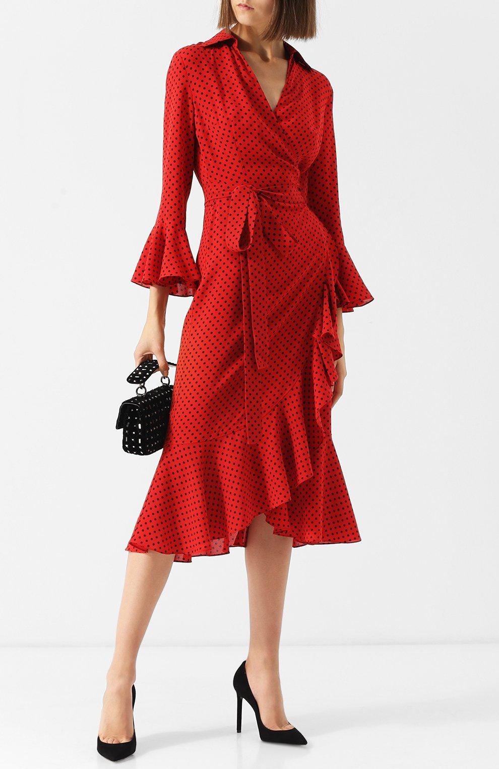 Шелковое платье-миди с поясом и оборками | Фото №2