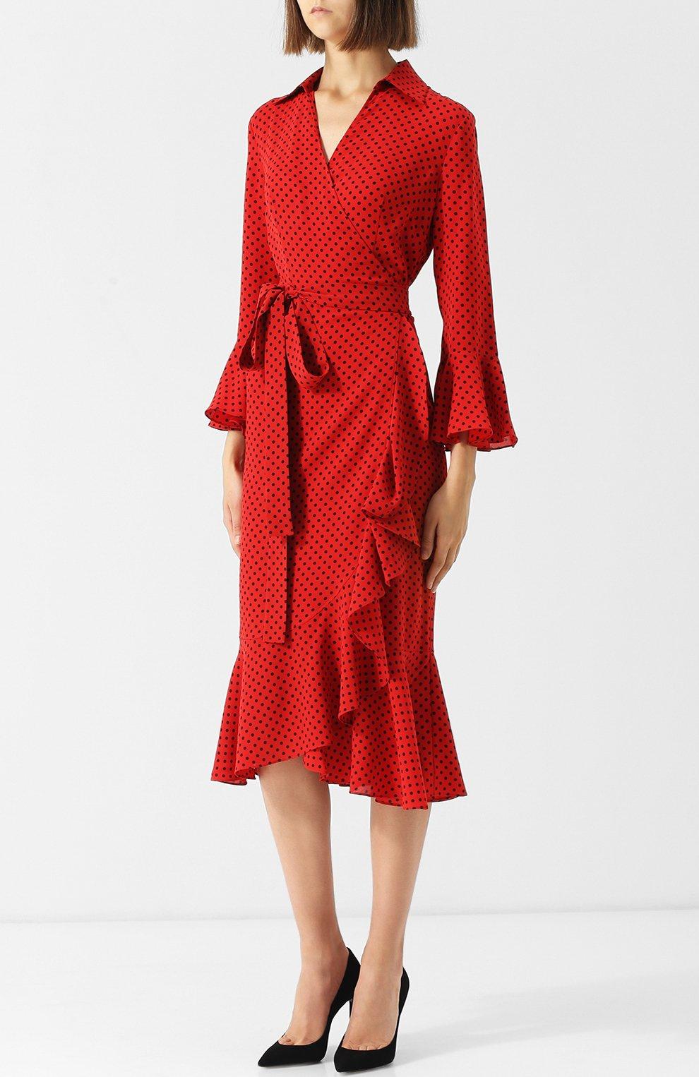 Шелковое платье-миди с поясом и оборками | Фото №3