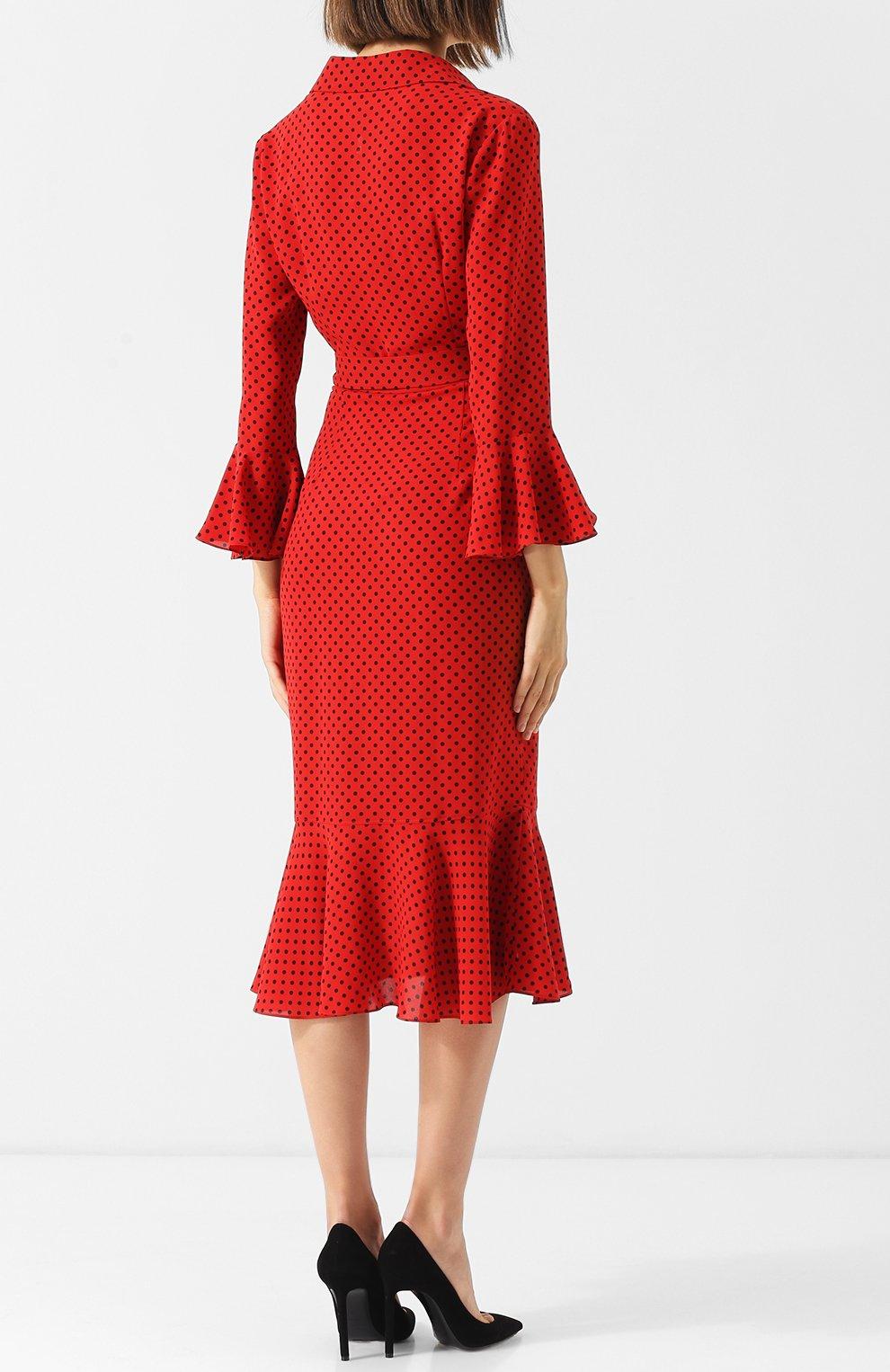 Шелковое платье-миди с поясом и оборками | Фото №4