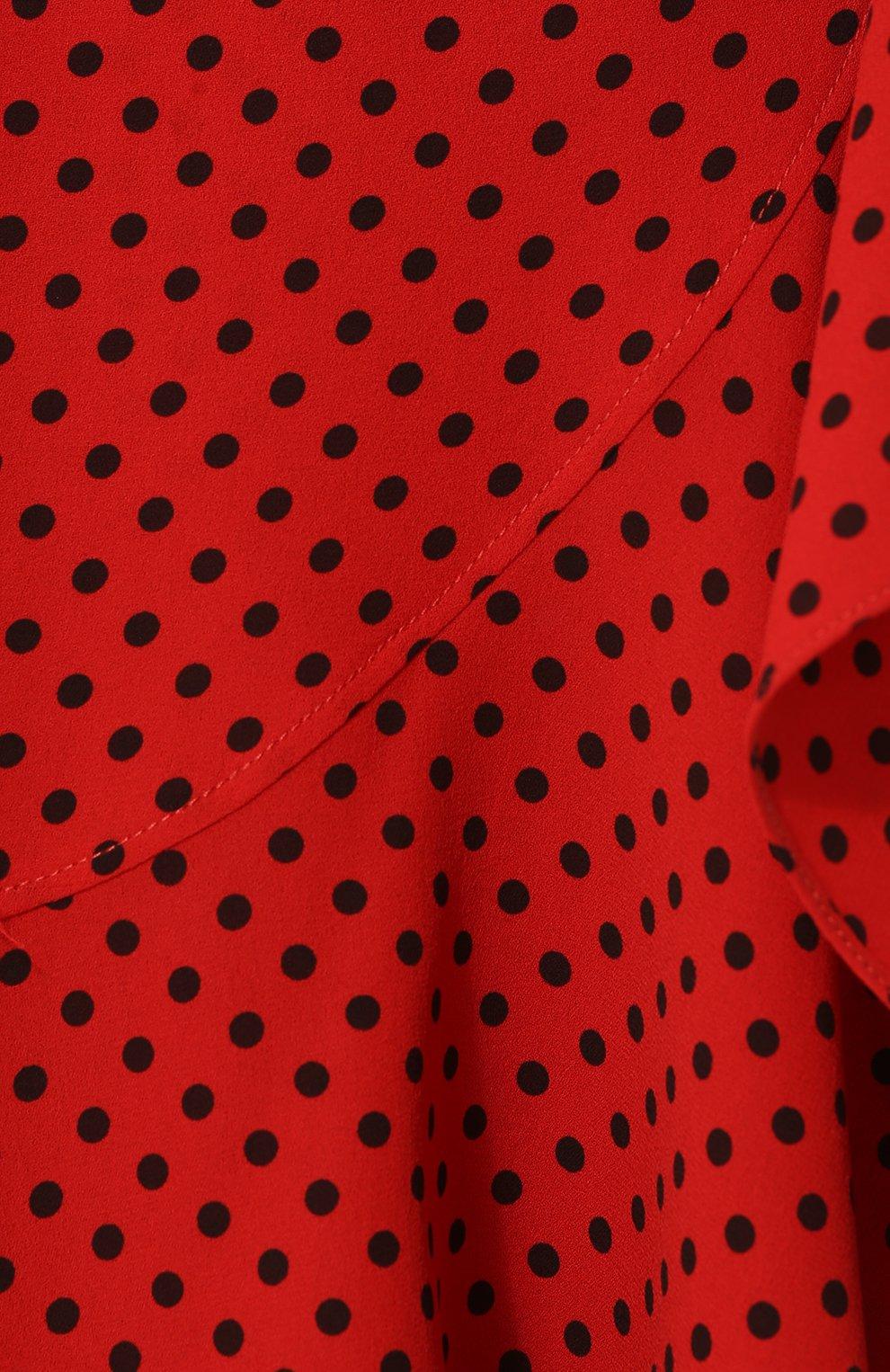 Шелковое платье-миди с поясом и оборками | Фото №5