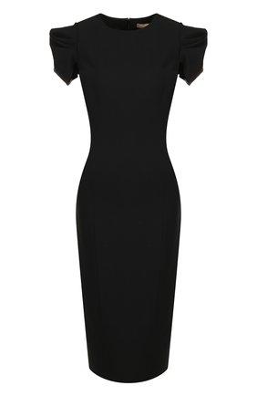 Однотонное шерстяное платье-миди с круглым вырезом | Фото №1