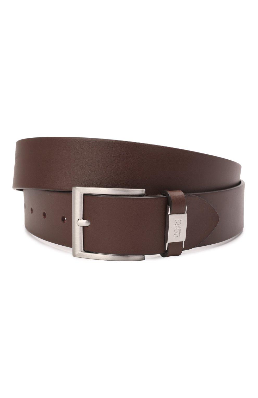 Мужской кожаный ремень BOSS темно-коричневого цвета, арт. 50224631 | Фото 1