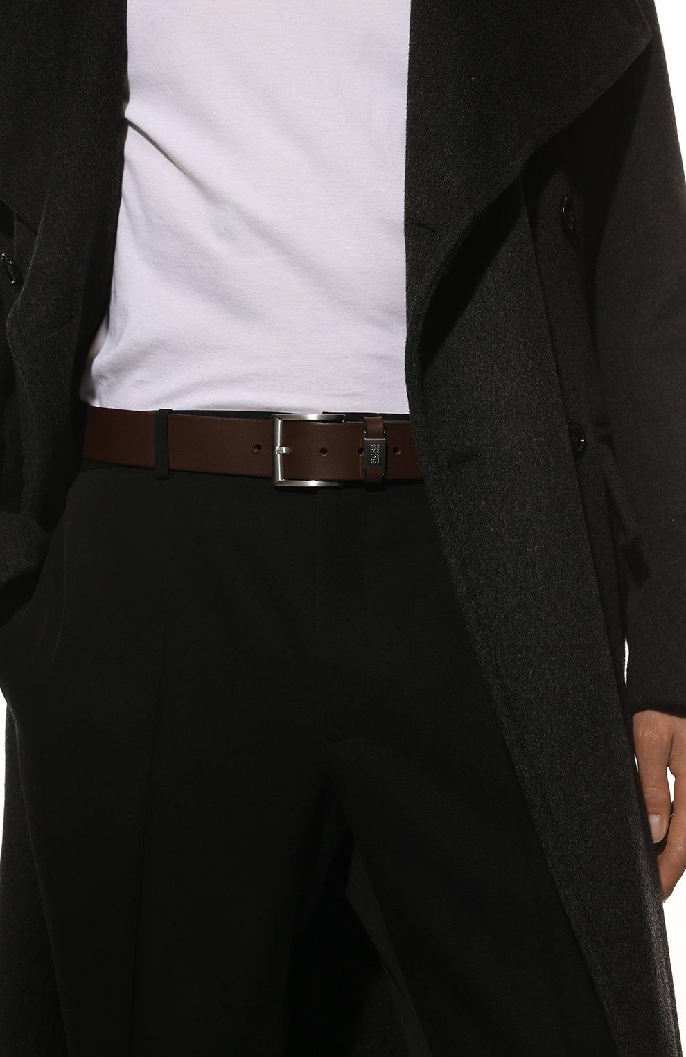 Мужской кожаный ремень BOSS темно-коричневого цвета, арт. 50224631 | Фото 2