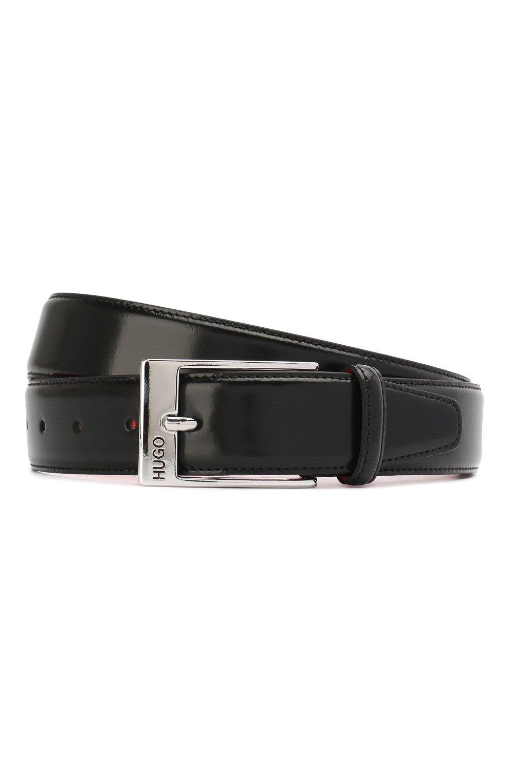 Мужской кожаный ремень HUGO черного цвета, арт. 50125066   Фото 1