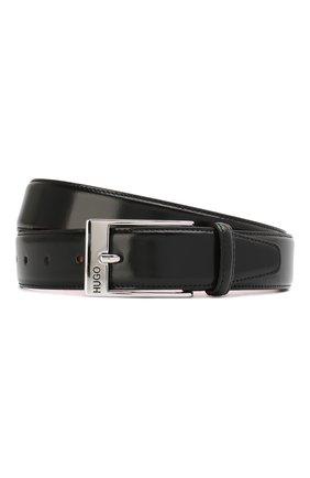 Кожаный ремень с металлической пряжкой HUGO черный   Фото №1