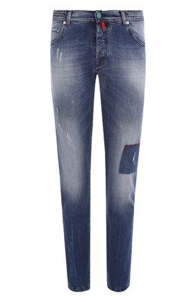 Мужские джинсы прямого кроя с потертостями KITON темно-синего цвета, арт. UPNJSJ06P89 | Фото 1