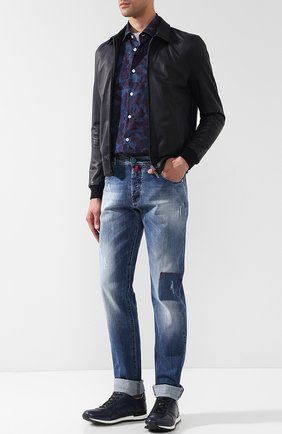 Мужские джинсы прямого кроя с потертостями KITON темно-синего цвета, арт. UPNJSJ06P89 | Фото 2
