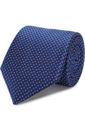 Шелковый галстук с узором Canali синего цвета | Фото №1