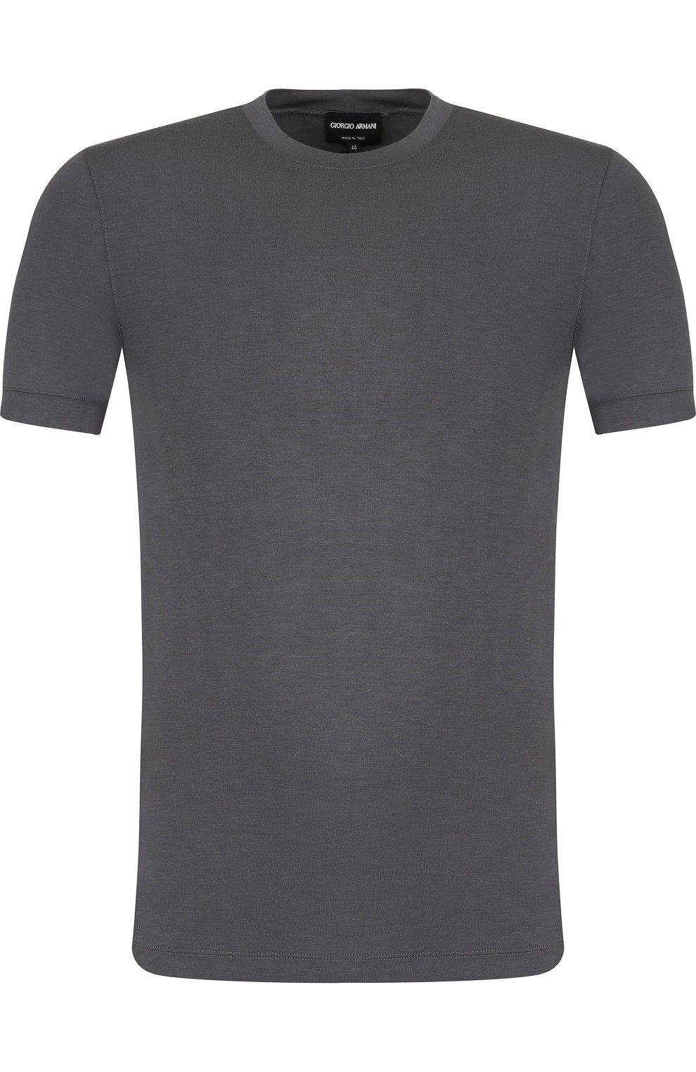Мужская однотонная футболка из вискозы GIORGIO ARMANI серого цвета, арт. 8NST52/SJP4Z | Фото 1
