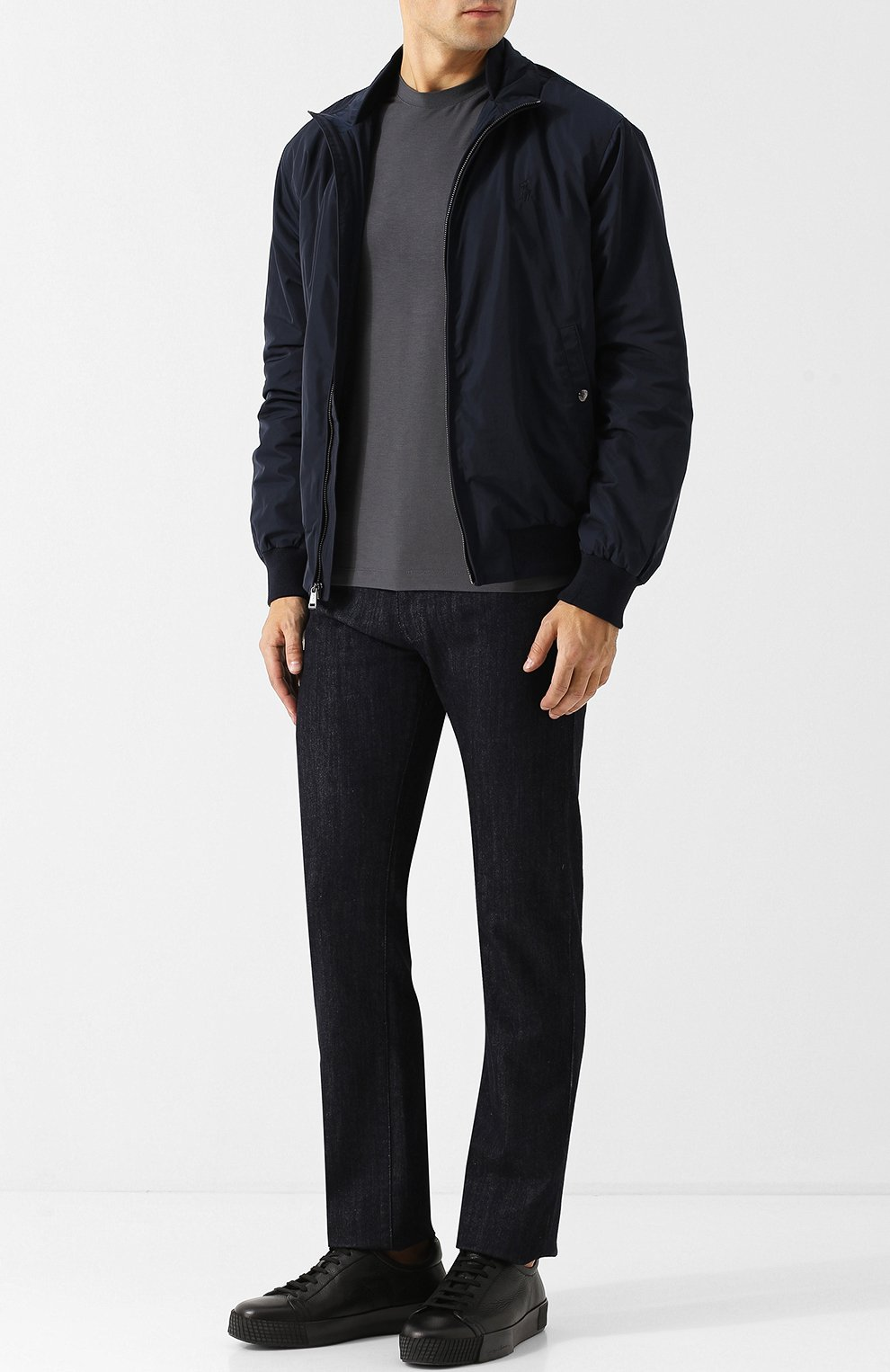 Мужская однотонная футболка из вискозы GIORGIO ARMANI серого цвета, арт. 8NST52/SJP4Z | Фото 2