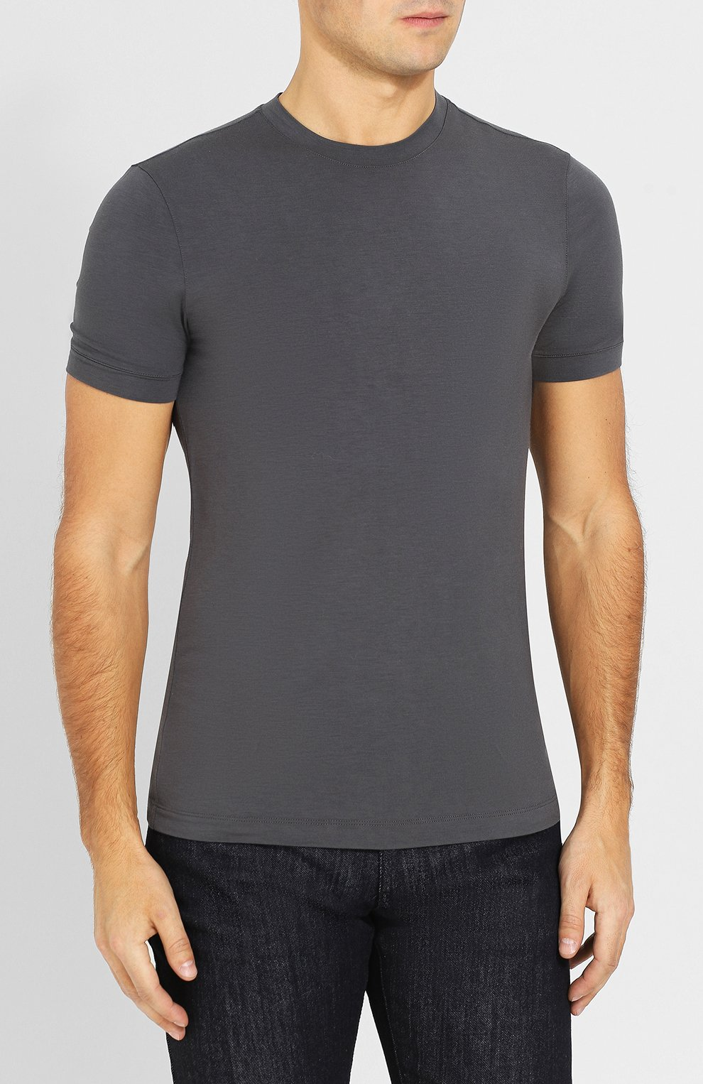 Мужская однотонная футболка из вискозы GIORGIO ARMANI серого цвета, арт. 8NST52/SJP4Z | Фото 3
