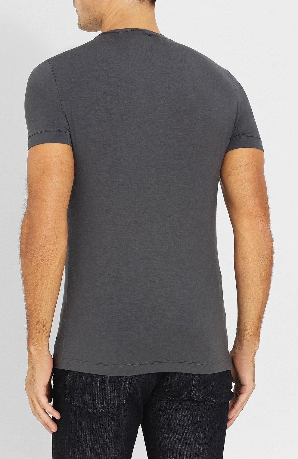 Мужская однотонная футболка из вискозы GIORGIO ARMANI серого цвета, арт. 8NST52/SJP4Z | Фото 4