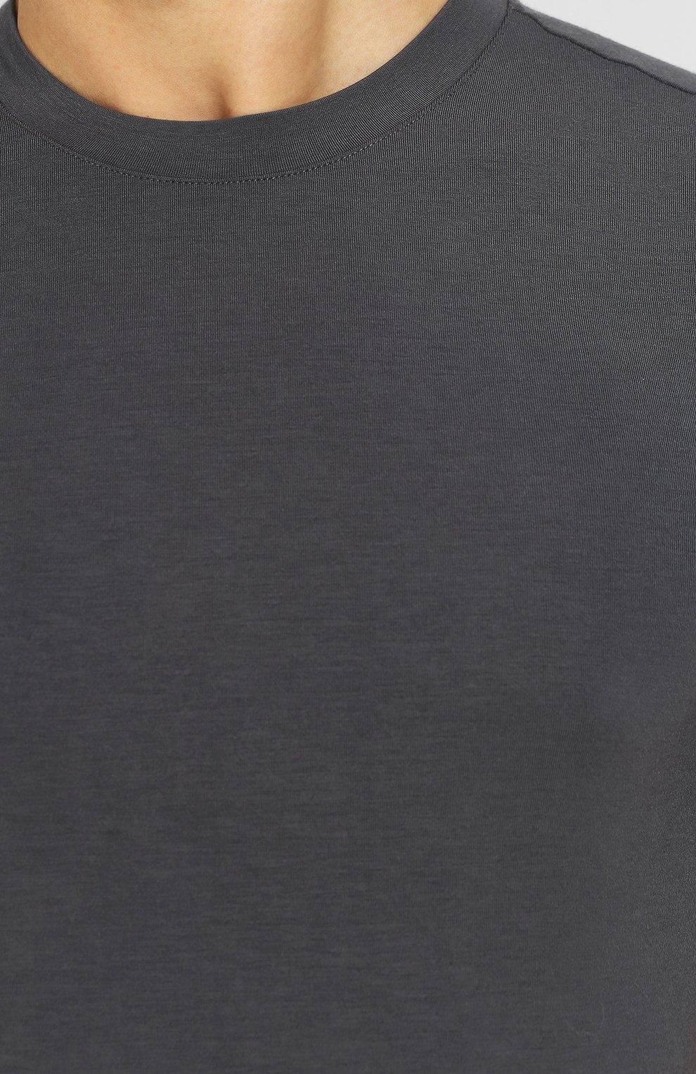Мужская однотонная футболка из вискозы GIORGIO ARMANI серого цвета, арт. 8NST52/SJP4Z | Фото 5