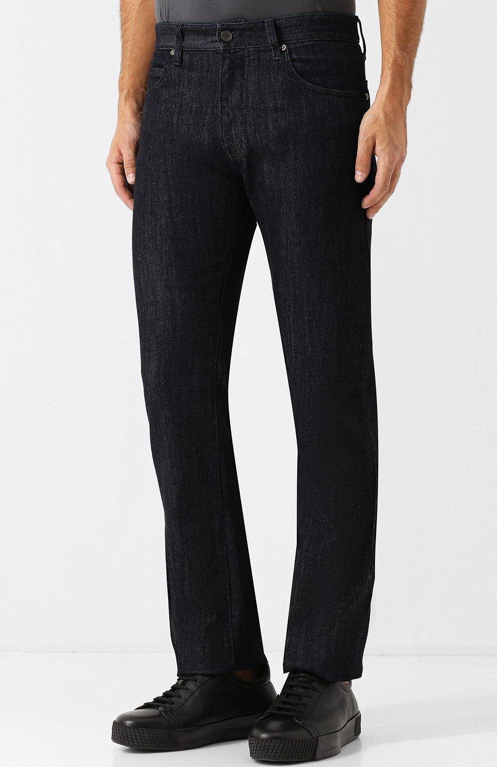 Мужские джинсы прямого кроя GIORGIO ARMANI синего цвета, арт. 6ZSJ02/SD30Z   Фото 3
