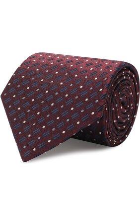 Мужской шелковый галстук с узором GIORGIO ARMANI бордового цвета, арт. 360054/8A914 | Фото 1