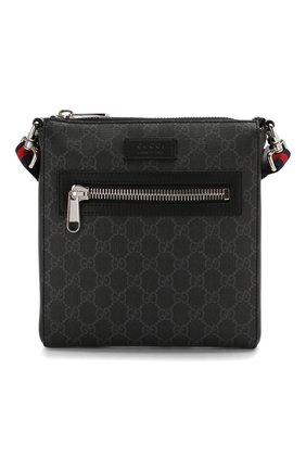 Мужская кожаная сумка-планшет gg supreme GUCCI черного цвета, арт. 523599/K5RLN | Фото 1