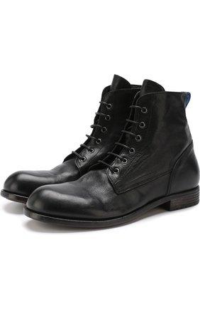Высокие кожаные ботинки на шнуровке Moma черные   Фото №1