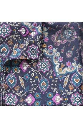 Шелковый платок с узором Eton бежевый | Фото №1