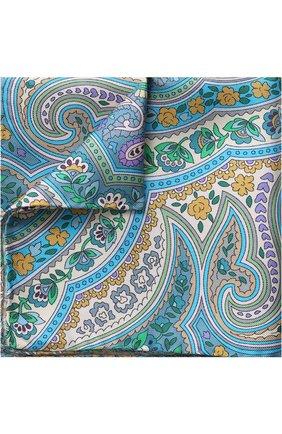 Шелковый платок с узором Eton синий | Фото №1