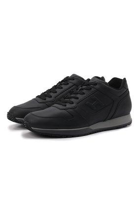 Кожаные кроссовки на шнуровке Hogan черные | Фото №1
