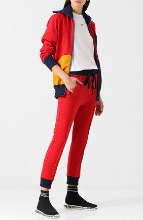 Высокие текстильные кросcовки Miu Miu черно-белые | Фото №1