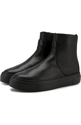 Кожаные ботинки с внутренней отделкой из овчины AGL черные | Фото №1