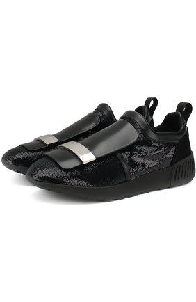 Текстильные кроссовки с отделкой пайетками Sergio Rossi черные | Фото №1