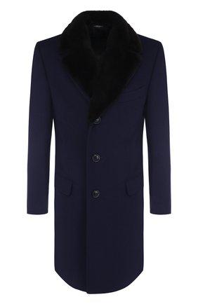 Однобортное пальто из смеси шерсти и кашемира Canali темно-синего цвета | Фото №1