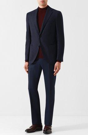 Мужской шерстяные брюки прямого кроя CORNELIANI темно-синего цвета, арт. 825263-8818150/02   Фото 2