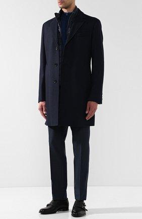 Шерстяной джемпер с воротником на молнии John Smedley синий | Фото №1