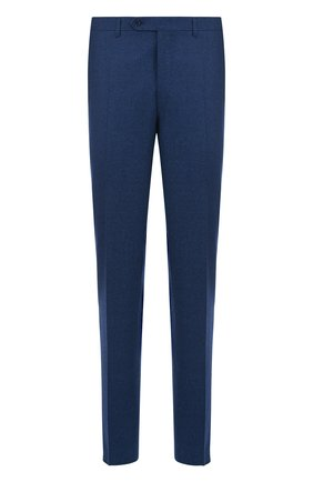 Шерстяные брюки прямого кроя Canali синие | Фото №1