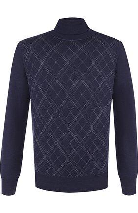 Шерстяной свитер с воротником-стойкой Canali темно-синий | Фото №1