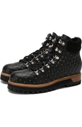 Кожаные ботинки на шнуровке с внутренней отделкой из овчины Le Silla черные | Фото №1