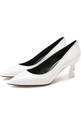 Кожаные туфли на каблуке kitten heel Casadei белые   Фото №1