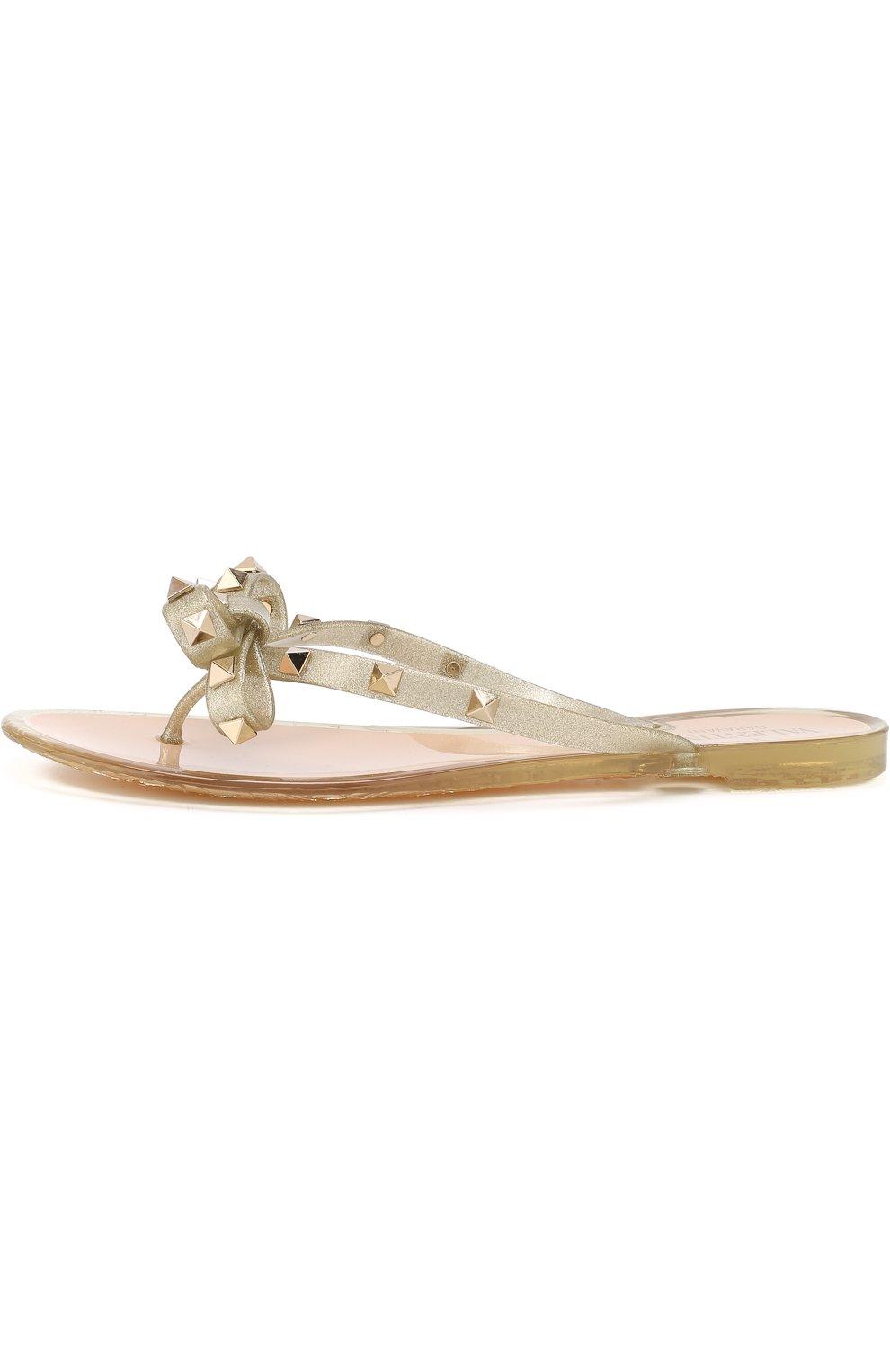 Резиновые шлепанцы Valentino Garavani Rockstud Valentino золотые | Фото №3