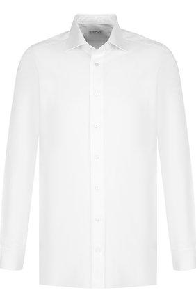 Хлопковая сорочка с воротником кент Zilli белая | Фото №1