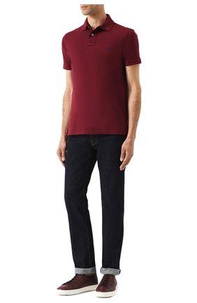 Мужское хлопковое поло POLO RALPH LAUREN бордового цвета, арт. 710680784 | Фото 2