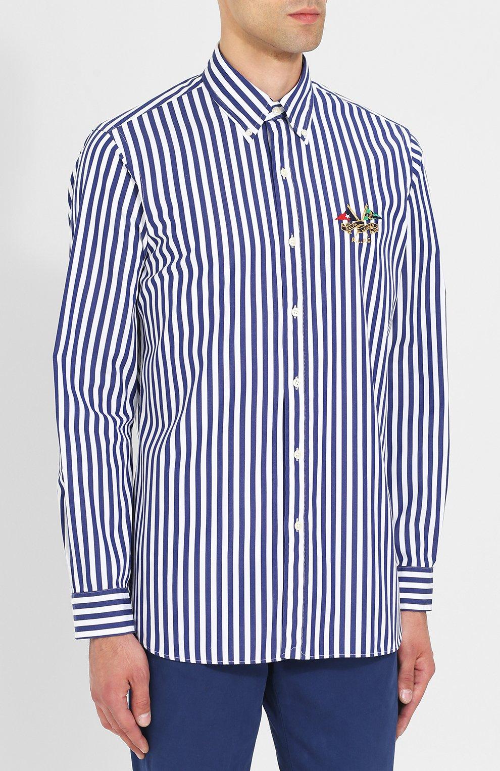 d4e2476ffb8 Хлопковая рубашка в полоску с воротником button down Polo Ralph Lauren  синяя