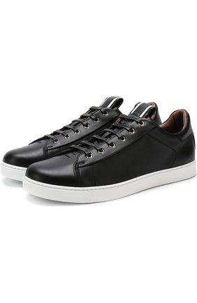 Мужские кожаные кеды на шнуровке GIANVITO ROSSI черного цвета, арт. S20266.M1WHT.CLNNBIA | Фото 1