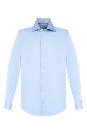 Хлопковая сорочка с воротником кент Eton светло-голубая | Фото №1