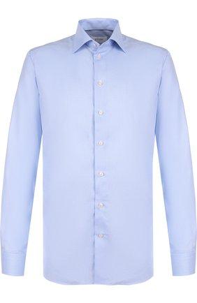 Хлопковая сорочка с воротником кент Eton голубая | Фото №1