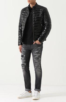 Утепленная куртка на молнии с воротником-стойкой Just Cavalli черная | Фото №1