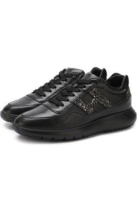 Кожаные кросcовки с глиттером на шнуровке Hogan черные | Фото №1