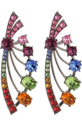 Серьги с отделкой кристаллами Swarovski Oscar de la Renta разноцветные | Фото №1